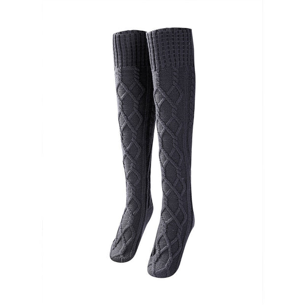 French Cable Knit Thigh High Socks
