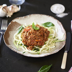 Turkey Mince Bolognese with Zucchini Pasta - monkeyfoodz
