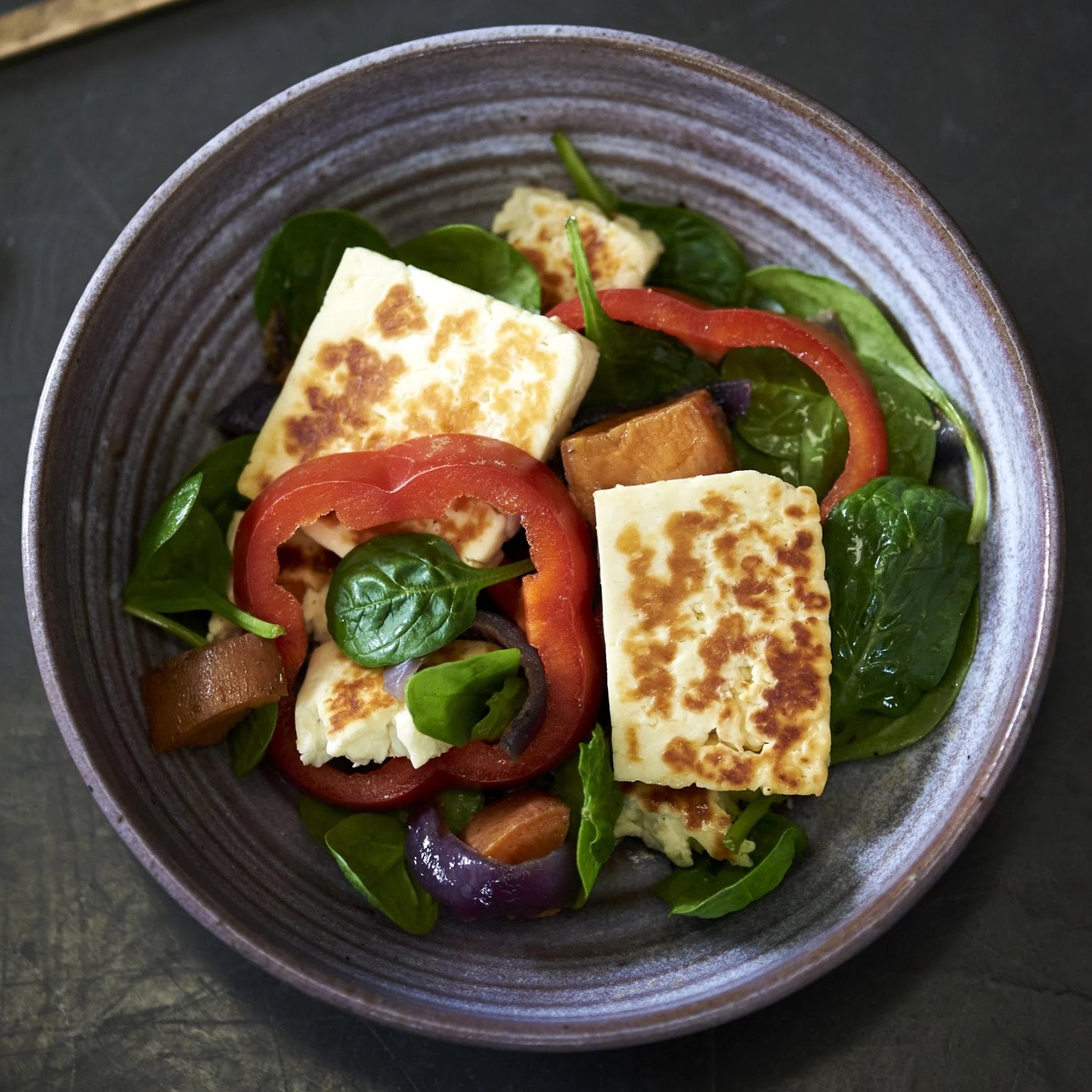 Halloumi, Spinach and Cajun Mediterranean Vegetables.