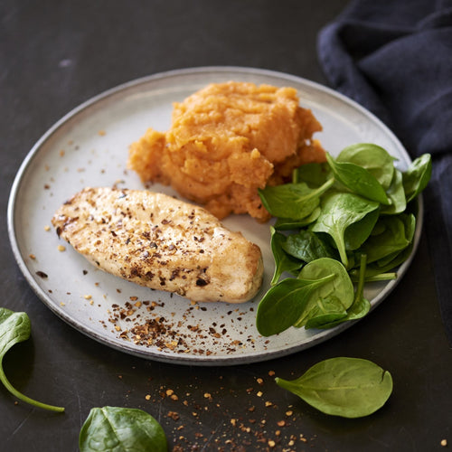 BBQ Chicken Breast with Sweet Potato Mash - monkeyfoodz