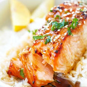 Salmon fillet with low sugar sweet chilli sauce and white rice