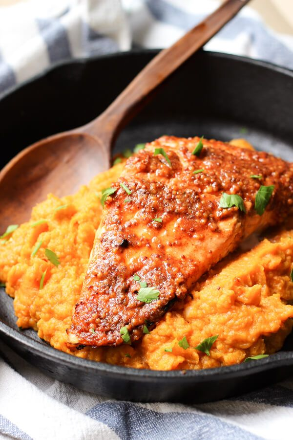 Salmon Fillet with Pumpkin Mash topped with Sesame seeds - monkeyfoodz