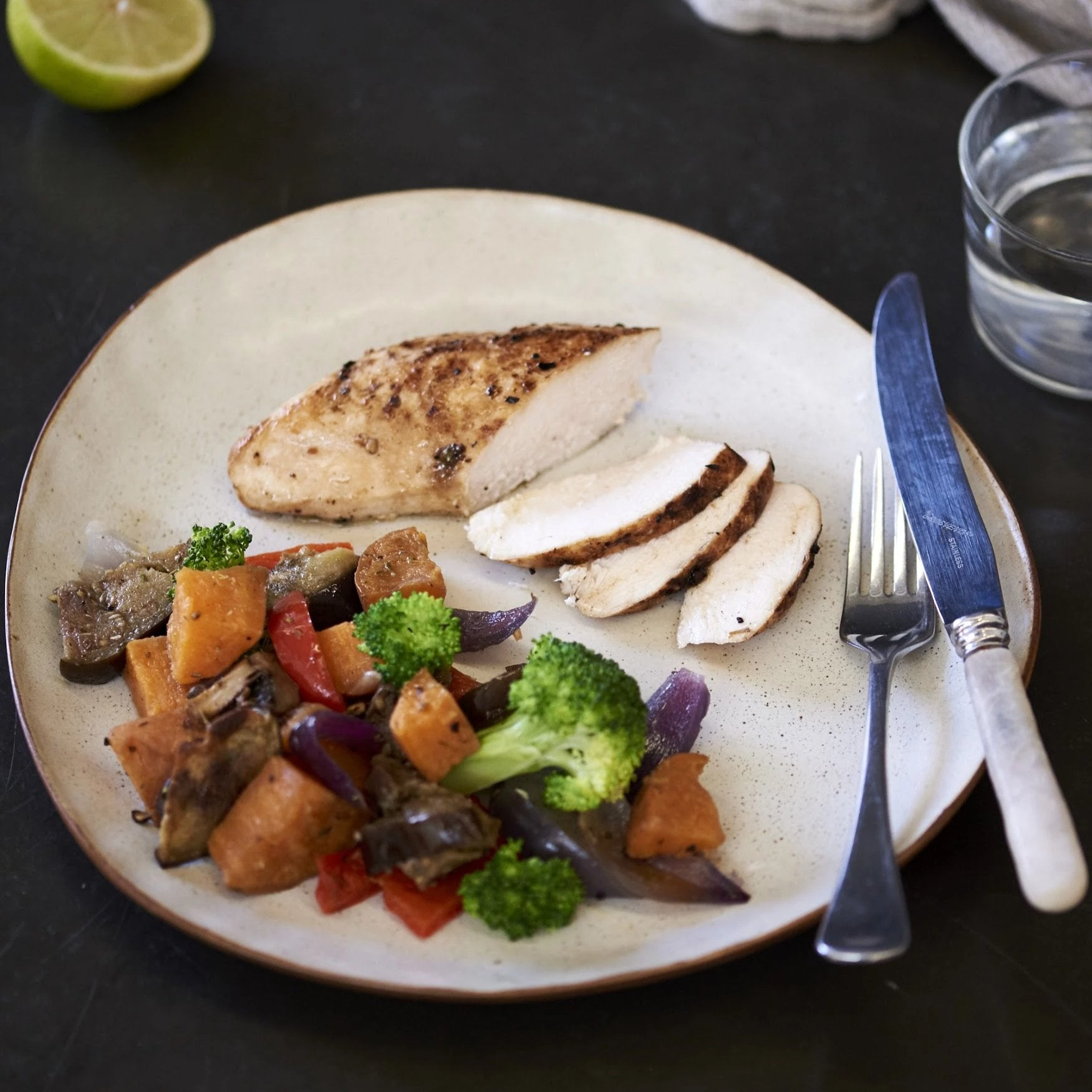 Lemon and herb Chicken with Mediterranean vegetables