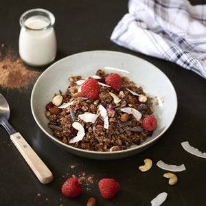 Low Sugar Chocolate Granola - monkeyfoodz