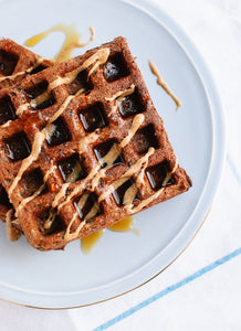 Chocolate banana waffles with peanut butter and blueberries - monkeyfoodz