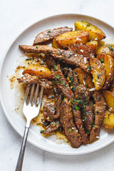 Beef strips with white potato