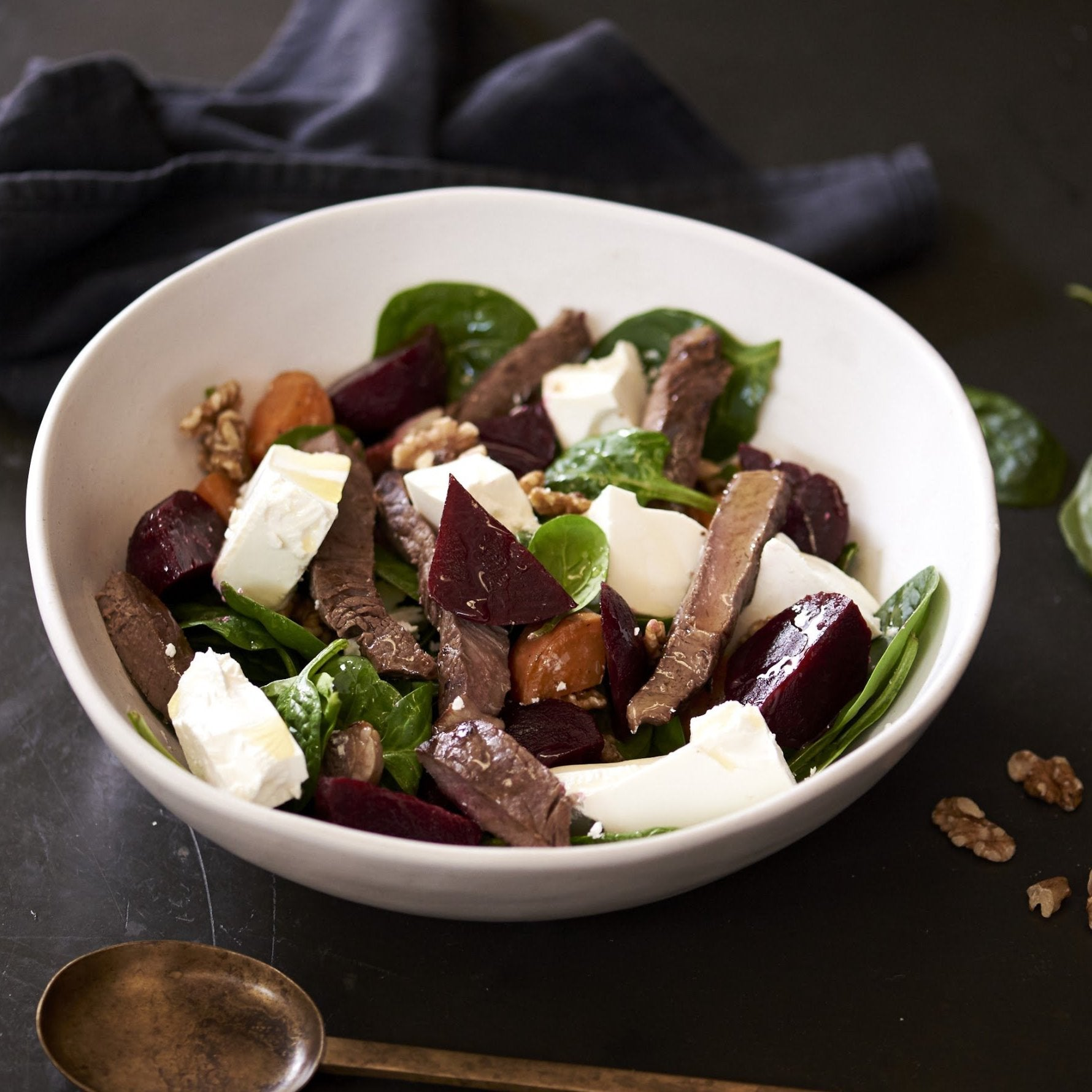 Beetroot, Pumpkin and Walnut salad beef strips