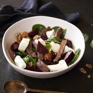 Beetroot, Pumpkin & Walnut Salad with Beef Strips - monkeyfoodz