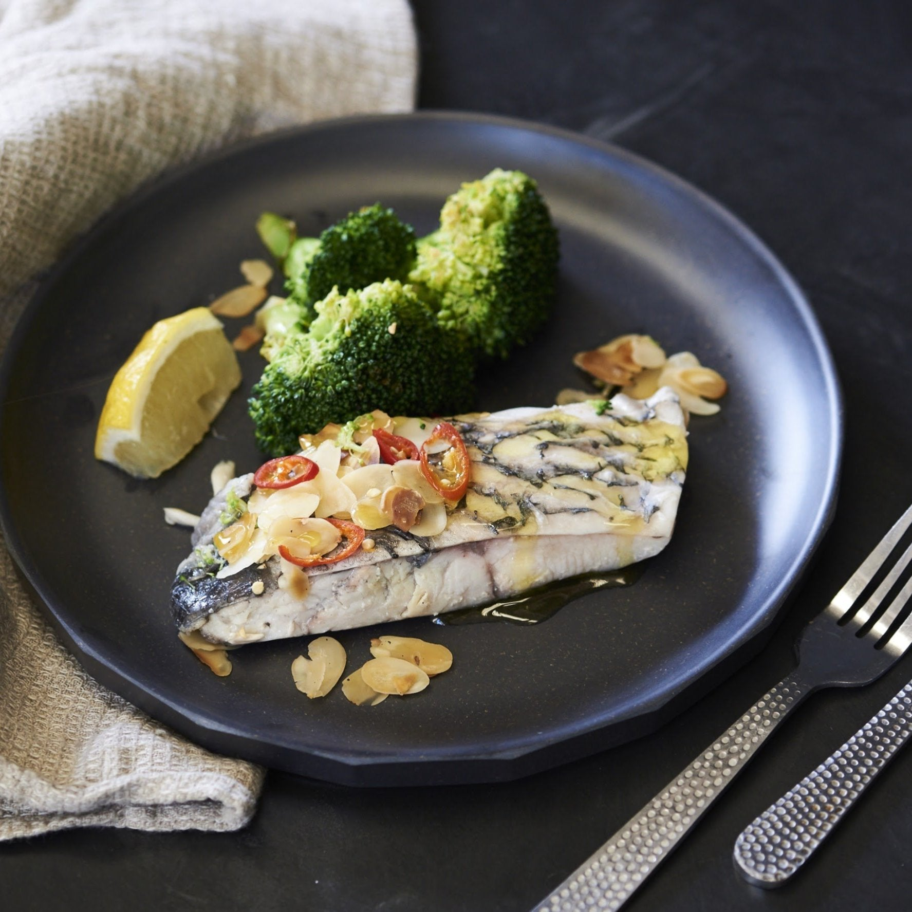 Baked Barramundi Fillet with Spicy Broccoli & Spicy Almonds