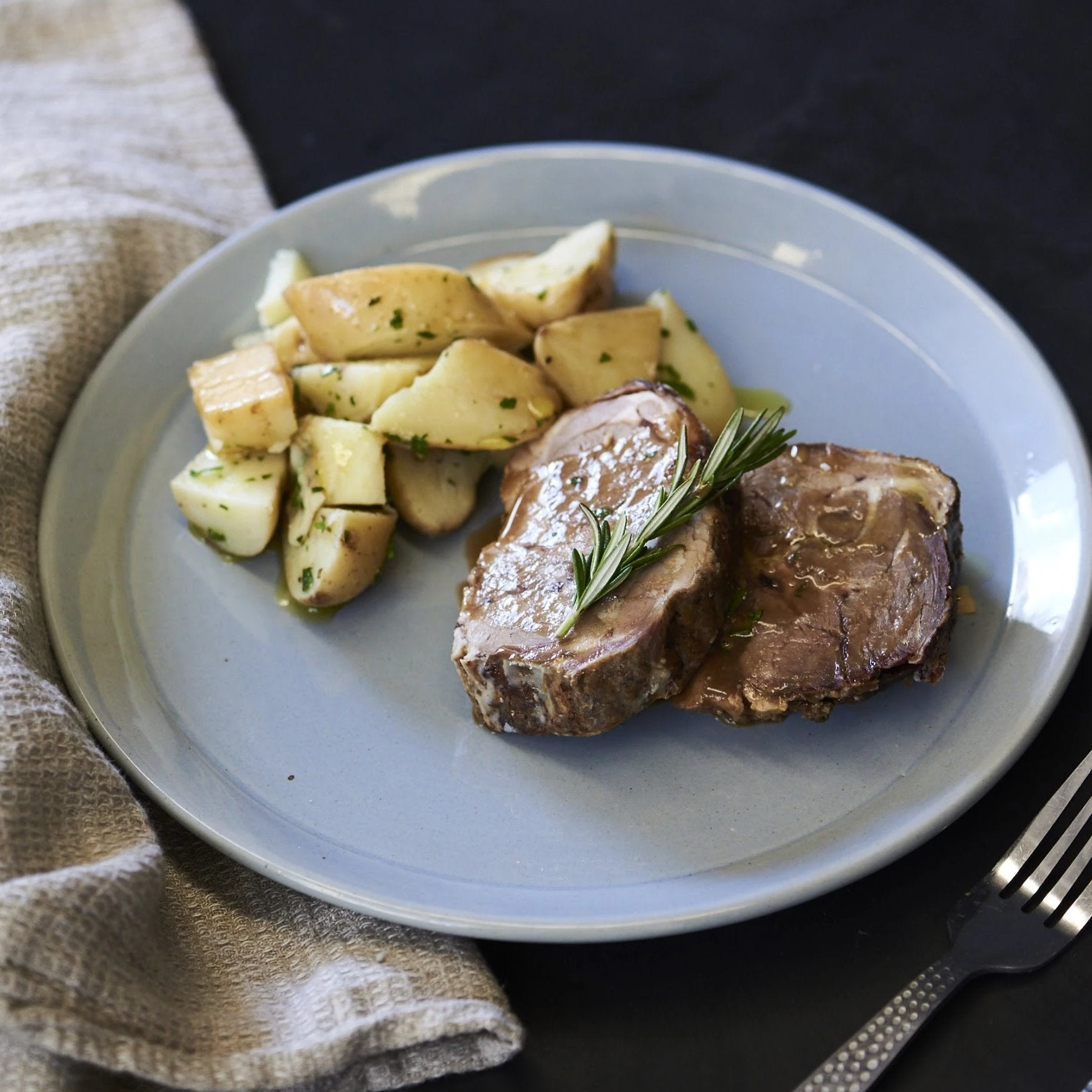 Slow Roasted Lamb Shoulder and Potatoes