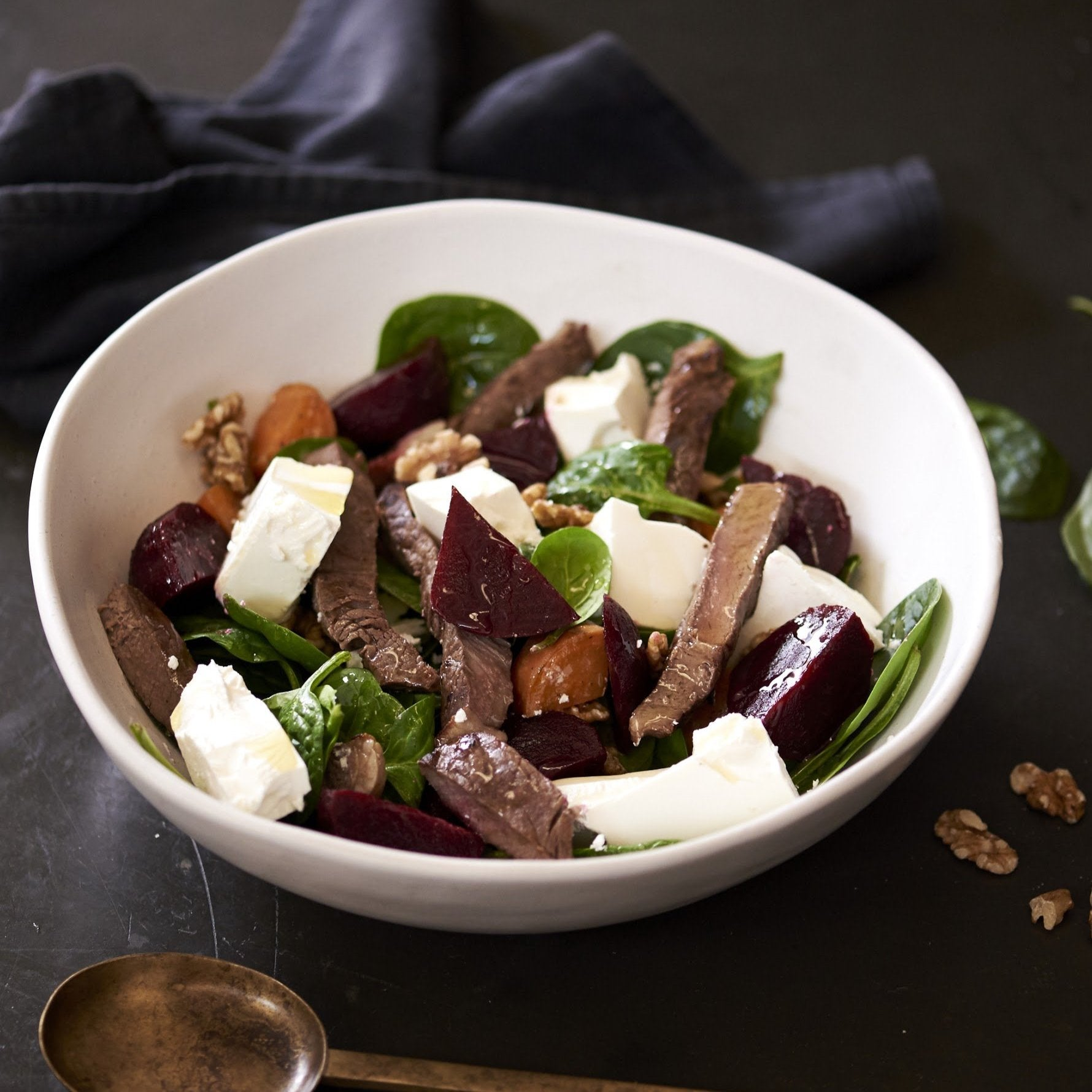 Beetroot, Pumpkin and Walnut salad lamb strips