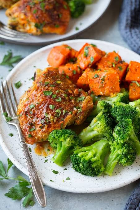 Grilled chicken with pumpkin and brocolli - monkeyfoodz