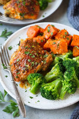 Grilled chicken with pumpkin and brocolli