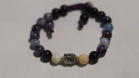 Amethys, Zed,  Agate, Mother pearl, Buddha white Metal
