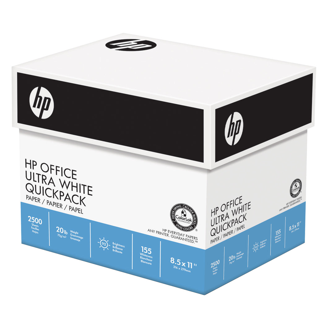 HP Office Ultra White Quickpack Printer Paper, 20lb, 92-Bright, 2,500 sheets