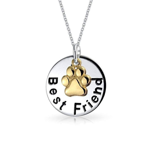 2 Tone Bff Best Friend Dog Paw Print Necklace - Max and Maci's Store
