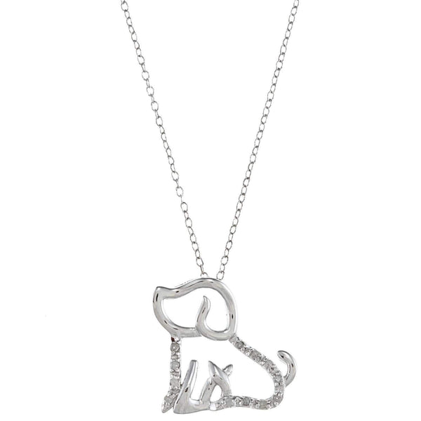 1/10Ct Tdw Diamond Dog Pet Necklace - Max and Maci's Store