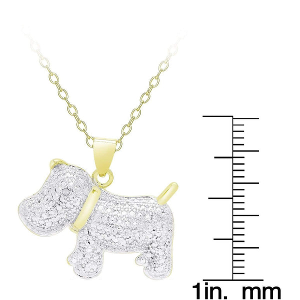 Gold Overlay Diamond Accent Dog Necklace - Max and Maci's Store