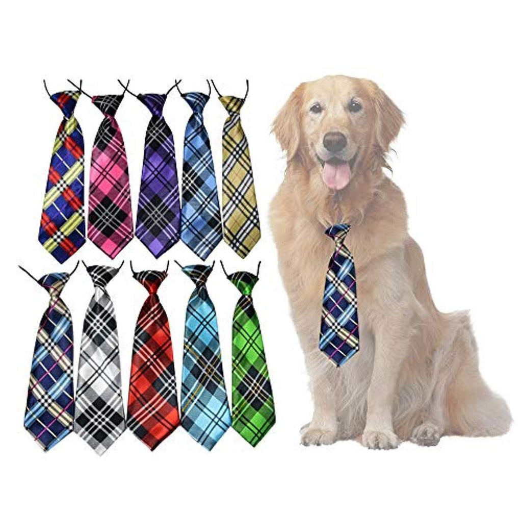 yagopet Dog Accessories 10pcs/Pack Plaid Patterns Large Dog  Neckties