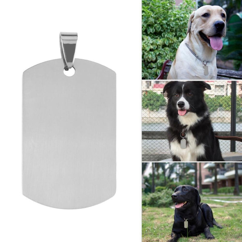 Max and Maci's Store Dog Accessories Fashion Military Men's Stainless Steel Silver Plain Dog Tag