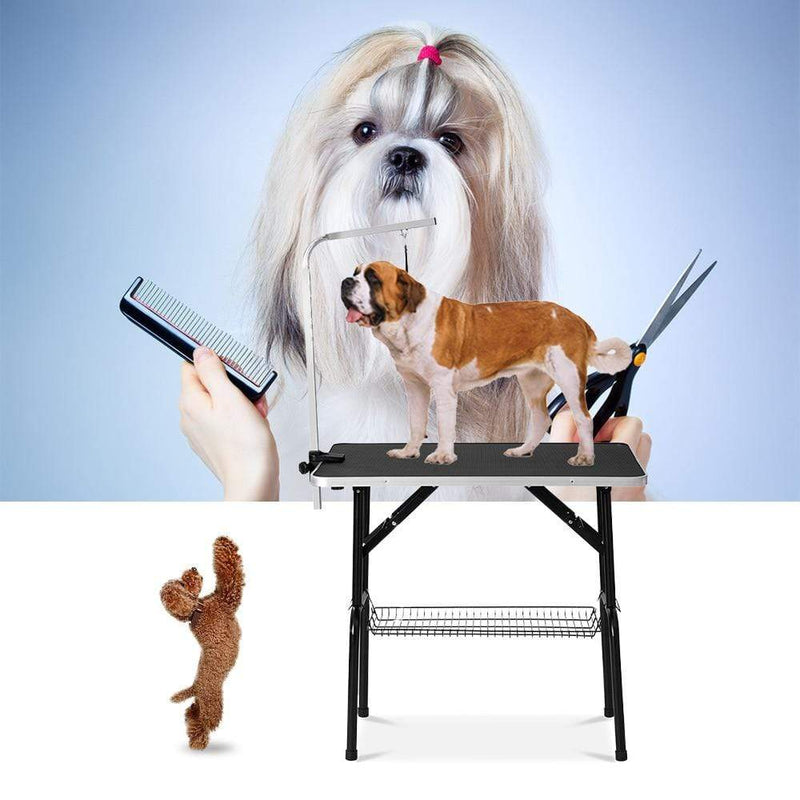 Max and Maci's Store Dog Accessories Foldable Dog Grooming Table With Mesh Tray