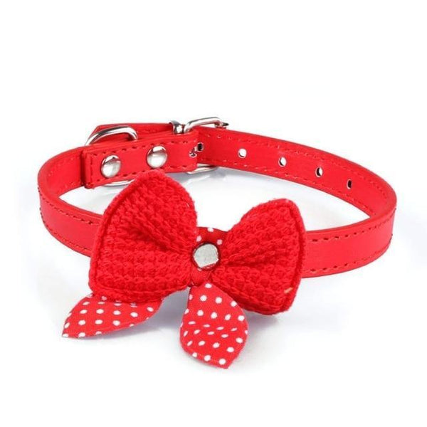 Adjustable Knit Bowknot Pu Leather Dog Collars - Max and Maci's Store