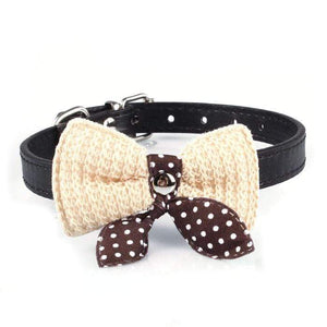 Max and Maci's Store Dog Collar Adjustable Knit Bowknot PU Leather Dog Collars