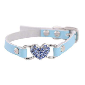 Max and Maci's Store Dog Collar Blue / S Love Heart Diamonds Rhinestone Pet Collar