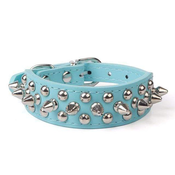 Max and Maci's Store Dog Collar Blue / S Pet Collar Adjustable Leather Rivet Spiked