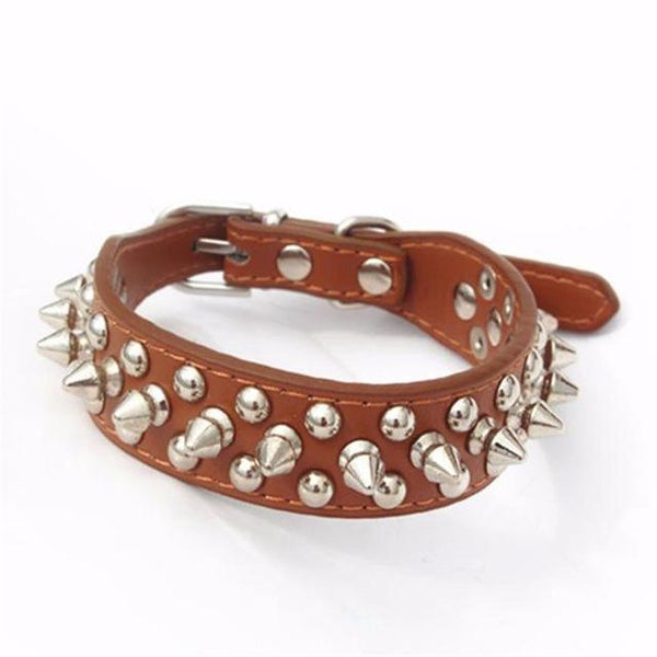 Pu Leather Punk Rivet Spiked Dog Collar - Max and Maci's Store