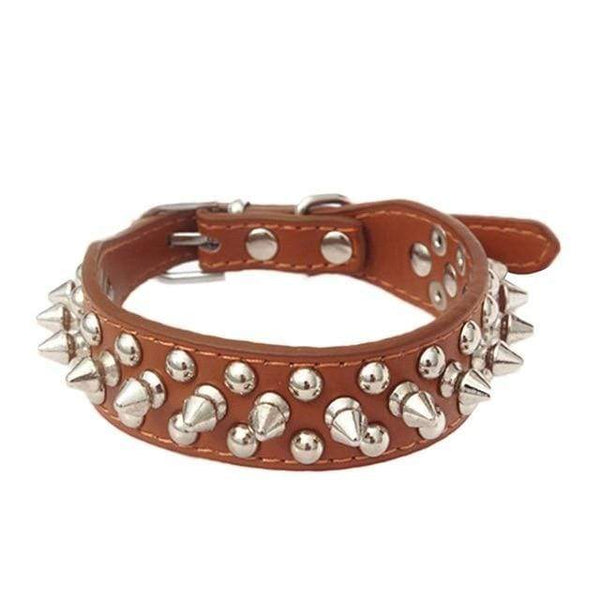 Max and Maci's Store Dog Collar Brown / S Pet Collar Adjustable Leather Rivet Spiked