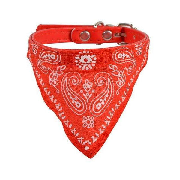 Jacquard Print Pu Leather Neckerchief Bandana Dog Collars - Max and Maci's Store