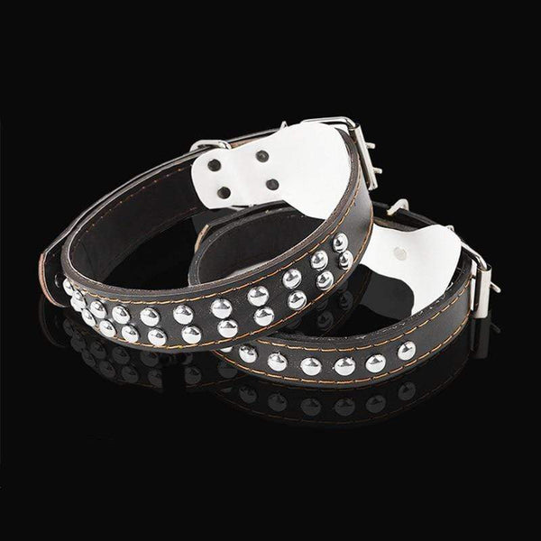 Dog Adjustable Leather Rivet Soft Collar - Max and Maci's Store