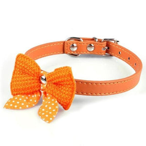 Max and Maci's Store Dog Collar E / XS Adjustable Knit Bowknot PU Leather Dog Collars