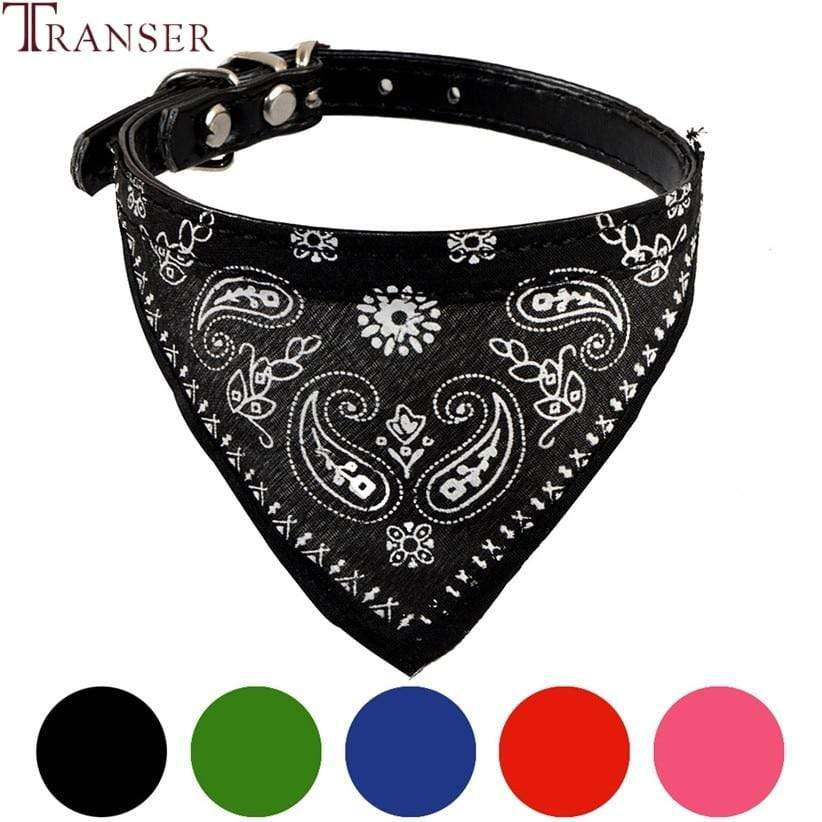 Max and Maci's Store Dog Collar Jacquard Print PU Leather Neckerchief Bandana Dog Collars