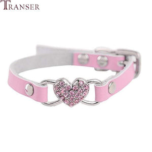 Max and Maci's Store Dog Collar Love Heart Diamonds Rhinestone Pet Collar