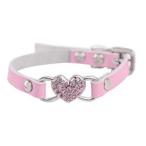 Max and Maci's Store Dog Collar Pink / S Love Heart Diamonds Rhinestone Pet Collar