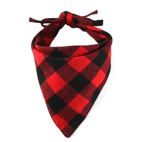 Winter Dog Bandanas Cotton Plaid Washable - Max and Maci's Store