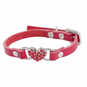 Max and Maci's Store Dog Collar Red / S Love Heart Diamonds Rhinestone Pet Collar