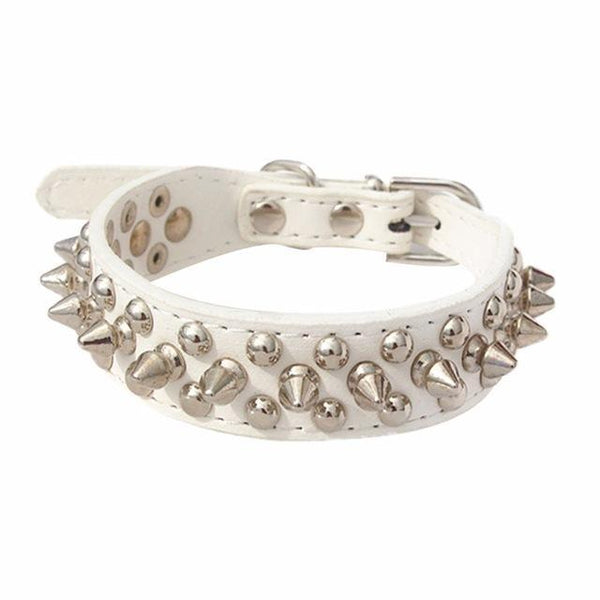 Max and Maci's Store Dog Collar White / S Pet Collar Adjustable Leather Rivet Spiked