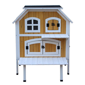 Max and Maci's Store Dog Doors, Houses & Furniture 2-Story Fir Wood Cat Cottage Pet House