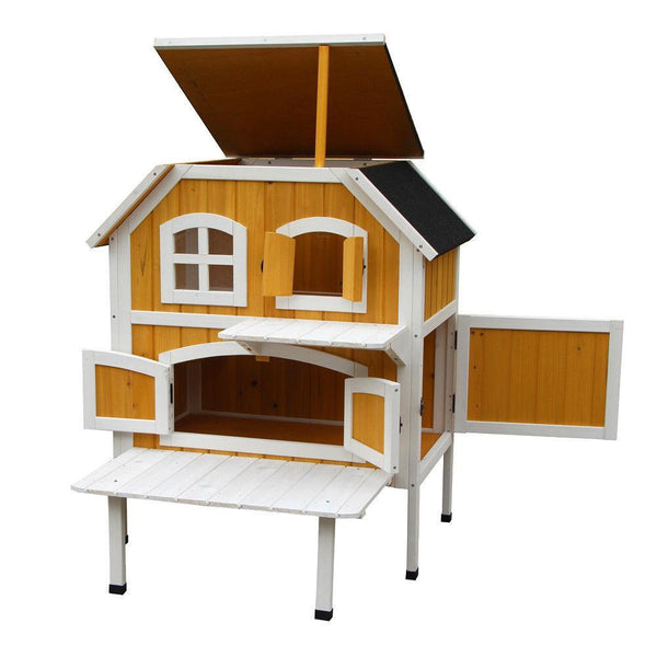 2-Story Fir Wood Cat Cottage Pet House - Max and Maci's Store