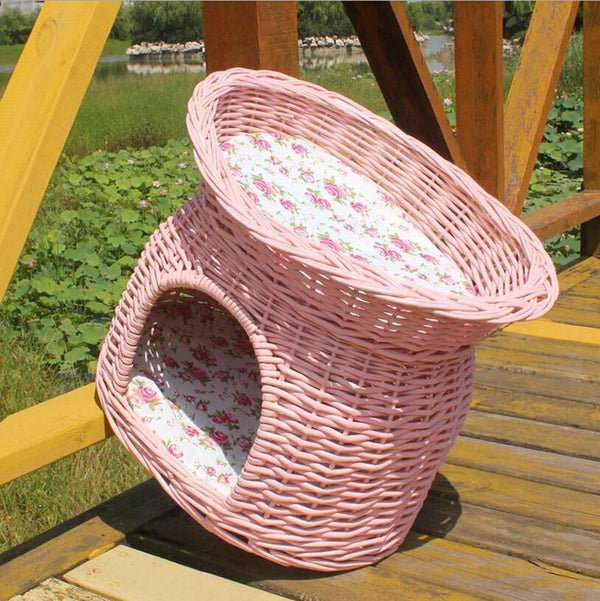 2 Tier Wicker Basket And Dog Bed House - Max and Maci's Store