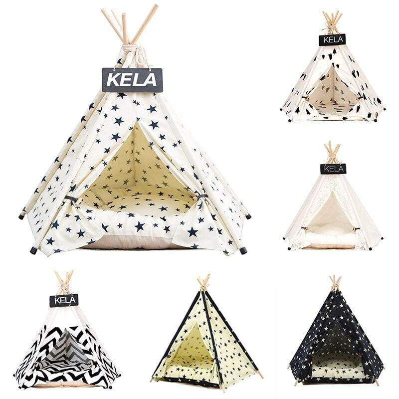 Max and Maci's Store Dog Doors, Houses & Furniture Portable Washable Dog Teepee Stripe Pattern House