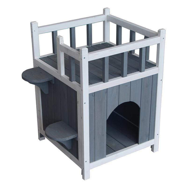 Wooden Pet Cat Cage House With Balcony - Max and Maci's Store