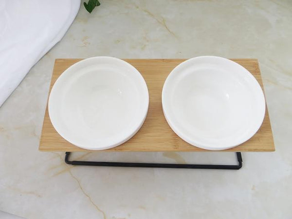 Bamboo Shelf Ceramic Feeding And Drinking Bowls - Max and Maci's Store