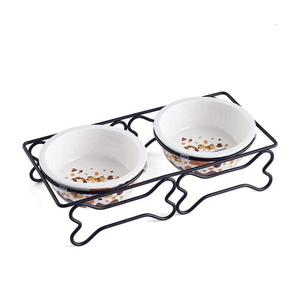Ceramic And Stainless Steel Double Mouth Dog Bowl - Max and Maci's Store