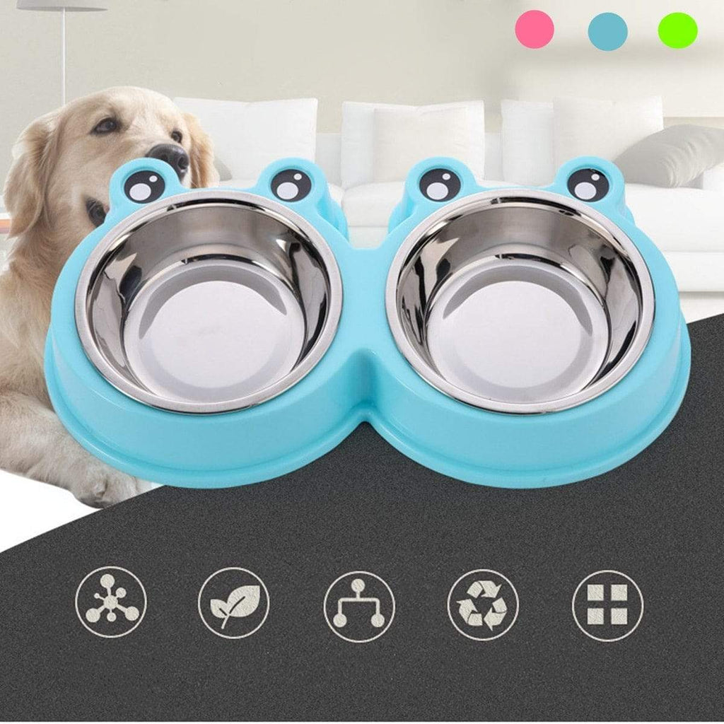 Max and Maci's Store Dog Feeding Dog Cat Food Water Double Stainless Steel Bowl