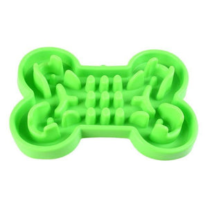 Max and Maci's Store Dog Feeding GREEN / L 33x23x5.5 cm Pet Dog Bowl Healthy Soft rubber Slow Food Feeder