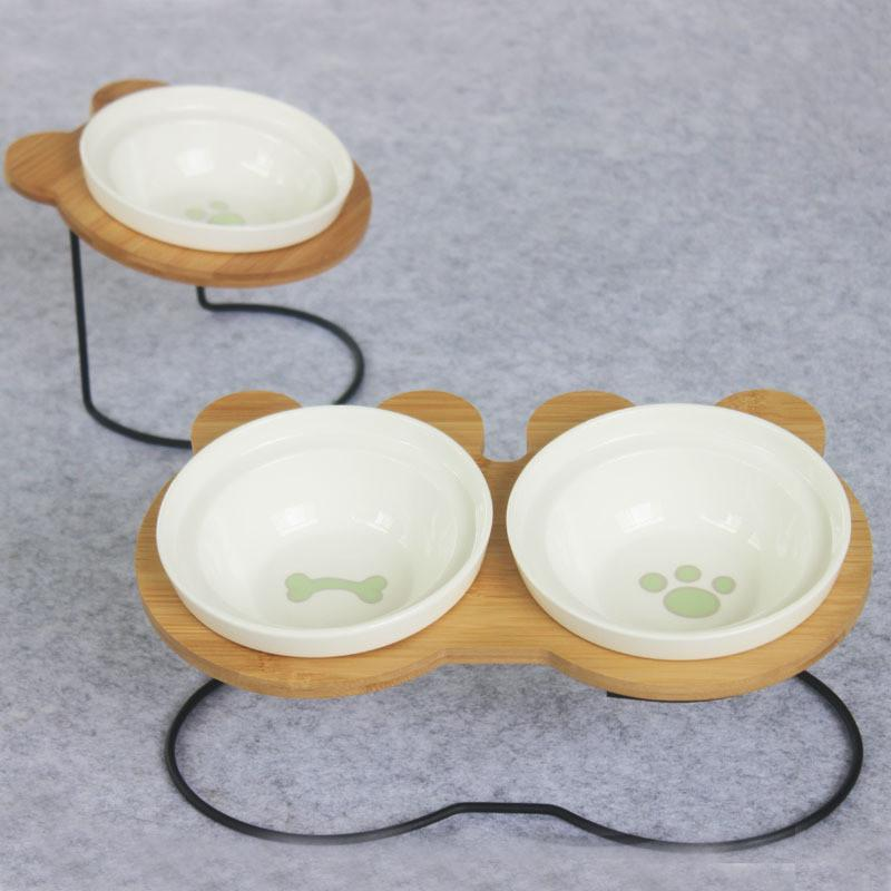 Max and Maci's Store Dog Feeding New High-end Pet Bowl Bamboo Shelf Ceramic Feeding